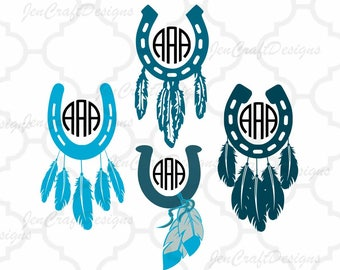 Horseshoe and Feathers SVG Monogram Frames SVG, Dxf, Eps ,Png Instant Download cut files for Silhouette Studio and Cricut Design Space.