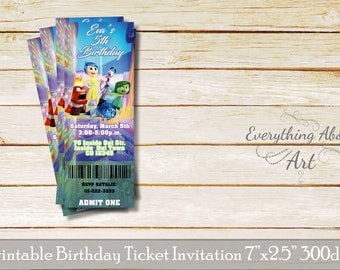 Inside Out ticket invitation, Inside Out birthday invitation, Inside Out theme, Printable ticket invitation, Joy invitation, Ticket Party