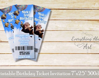 UP ticket invitation, Up movie birthday invitation, UP theme, Printable ticket invitation, Up invitation, Balloon house ticket, Ticket Party