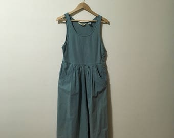 Vtg L.L. Bean green jumper dress with pockets