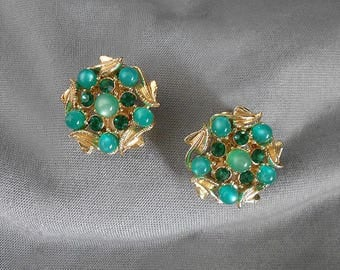 Vintage Green Earrings MOONGLOW RHINESTONES, Mid Century Jewelry Earrings, Vintage Emerald Green Moonglow Lucite Earrings, 1960s Signed STAR