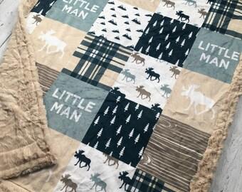 Little Man Minky Blanket - Faux Quilt - Designer Minky - Beige