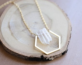 Crystal Geometric Necklace // Hexagon Necklace // Honeycomb  Necklace