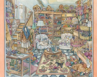 Yarn Shop Watercolor Painting by Kim Jacobs