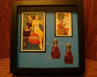 Coca Cola Memory box, Coca Cola collectible, Coca Cola collectible frame, Coca Cola items, Coca Cola frame, Coca Cola shadowbox