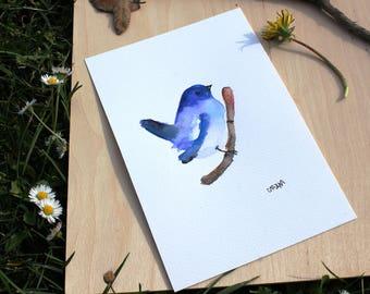 "ORIGINAL watercolor painting blue BIRD A5 150 X 198 mm (5,9"" x 7,8"")"
