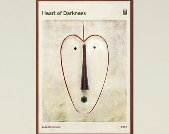 Heart of Darkness, Joseph Conrad - Book Cover Poster Large, Literary Gift, Literature Art, Bookworm, Bibliophile, Instant Download