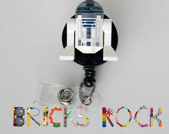 R2D2™ - Star Wars©  - Badge Reel made with LEGO® Minifigure™ - ID  Holder - Retractable Badge Reel -Belt Clip - Lanyard - Spring Swivel Clip