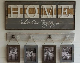 Rustic HOME sign, Home, Where our story begins, Country decor, Wedding shower gift, Housewarming gift