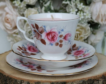 Beautiful Vintage Queen Anne bone china soy teacup candle - Home Gifts- Cottage Decor- Shabby Chic -