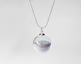 handblown glass big ball necklace on long 925 sterling silver chain