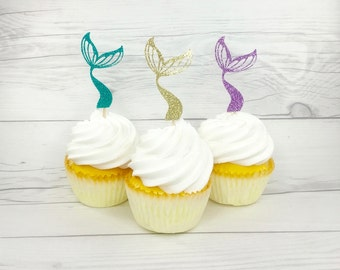 Mermaid Tail Cupcake Topper, Under The Sea Cup Cake Topper, Mermaid Cup Cake Topper, Lavender and Aqua Cup Cake Topper, Glitter Mermaid Tail