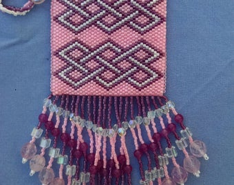 Beaded Pouch Necklace, Pink Geometric Design Peyote Necklace