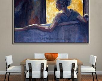 Blue Painting Large Wall Art Woman Painting, Oil Canvas Living Room Painting, Canvas Art Large Painting, Contemporary Original Artwork