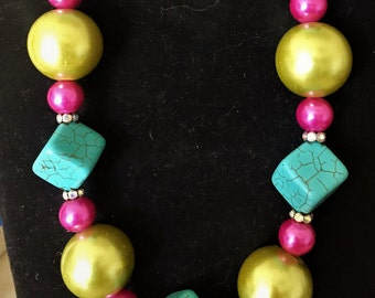 Chunky whimsical turquoise, lime and hot pink necklace
