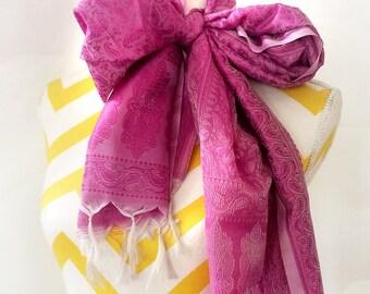 Pink fringe Silk Scarf,Silk wrap,Self embroidered kashmiri Scarf,Head scarf,Hijab,Holiday gift wedding accessory by Taneesi