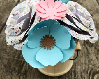 Blue and Pink Paper Flower Bouquet