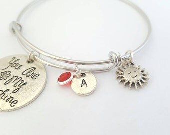 You are my sunshine bracelet - Custom bracelet - Sunshine charm - You are my sunshine bangle - My only sunshine - Birthstone bracelet - Gift