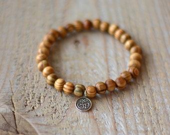 Bracelet for man semiprecious stones, gems - wood of Peru - charm OHM silver yoga - gift