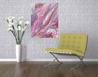 Silver Leaf Textured Painting - Modern Art Abstract Painting Free Shipping -Pink Painting Canvas Art -Textured Art - Abstract Painting