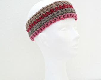 Crochet headband Crochet headwrap Crochet ear warmer Crocheted headband Knit headband Chunky headband Womens earwarmers Beige headband