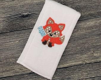 Personalized Fox Burp Cloth, Monogram Woodland Animal Burp Clothes, Baby Boy Necessities, Fox Baby Gift, Custom Newborn Baby Boy Burp Rag