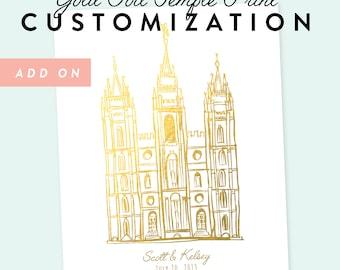 Gold Foil Temple Print Customization Add On