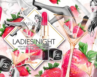 Birthday Clipart Party Girl Fashion Illustration, Bridal Shower Clipart Make-Up Chanel Lipstick Strawberry Martini Glass, Planner Clipart