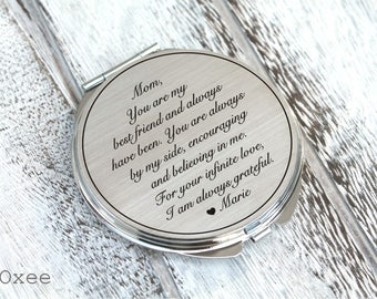Personalized engraved pocket mirror | compact mirror | wedding gift | mother of the bride gift