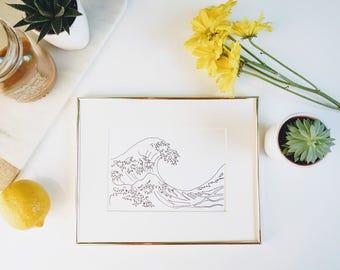 Hand Drawn Wave Print        gallery wall print, apartment decor, gold foil prints, home decor, modern prints