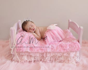 Mini Crystal and Rhinestone Baby crown, , Newborn hair accessory/ crochet pearls  pink/ivory  tutu bloomer  & silver  crown..Royal Princess