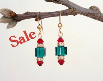 Christmas Earrings, Christmas Dangle Earrings, Swarovski Crystal Earrings, Gold Earrings, Holiday Earrings, Crystal Earrings, Gold