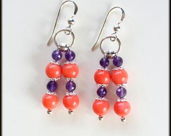 Sterling Silver Coral Amethyst Earrings,  Amethyst Earrings, Coral Earrings, Sterling Silver Earrings, Gemstone Earrings, Beaded Earrings