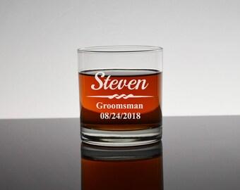 7 Personalized Rocks Glasses, Set of 7, Gifts for Groomsmen, Bourbon Glass, Whiskey Glass, Personalized Groomsmen Glass, Bachelor, RG01