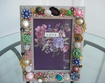Vintage Jeweled Picture Frame, Handcrafted Vintage Jewelry, One-of-a-Kind, Bejeweled Frame, Wedding Gift, Gift for Her, Bling Glam /F2