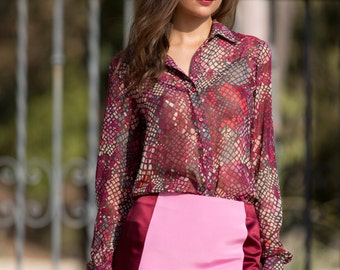 Printed Silk Georgette Button-Up Top