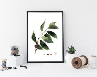 Coffee plant wall art, botanical art print, watercolor poster, nature, leaf art, gift, minimal simple illustration, home decor, coffee art