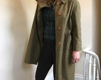 Tan Plaid Vintage Trench Coat by Betty Rose w/ Sta-Dry Coating