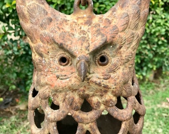 """Cast Iron Owl Candle Lantern, 11.5"""" Heavy Vintage Rusty Owl Candle Holder with Rustic Patina, #33"""