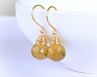 Beer Quartz Earrings, Honey Amber Golden Jewelry, Genuine Gemstone Dangle Drop Leveback Earrings, 14K Rose Gold Filled, Sterling Silver
