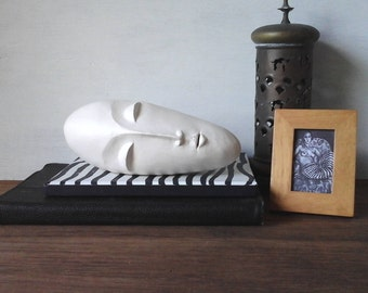 White modern sculpture head, ceramic face, white modern art, 3d head, Brancusi style sculpture, white abstract art gift for her, zen gift