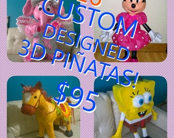 """Custom designed pinatas, 3D, 26"""".  Free shipping for a limited time within the USA!"""