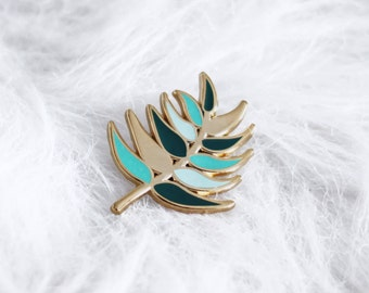 pins palm tree leaf - vegetable enamel pin - leaf Badge - pins - lapel pin - enamel pins gold metal - accessory and gift woman - nature