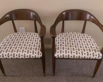PAIR of Mid-century Danish Modern chairs teak/walnut Hans Wegner Round Chair Danish Modern Armchair