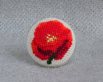 Gift for her Red poppy ring Cross stitch jewelry Embroidered ring Red jewelry Hand embroidered gift Floral ring Poppy jewelry Women gift