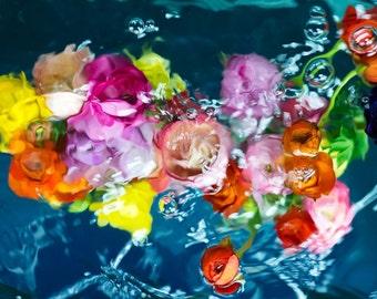 Oversized Art Print, UNFRAMED Floral Print, Spring / Summer Art, Blue, Pink, Yellow, Modern Art by Jessica Kenyon