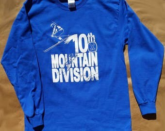Colorado ski history long sleeve t-shirt 10th Mountain Division World War II royal blue 100% cotton Gildan graphic tee