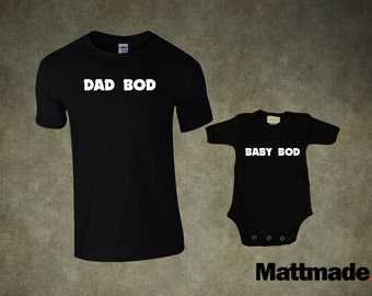 Dad & Baby Matching Shirts. Dad bod baby bod - T-shirt and jumper for Dad and Baby