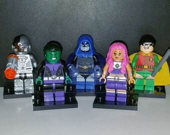 Teen Titans Go Set Of 5 DC Minifigures Robin Beast Boy Cyborg Starfire Raven Young Justice (LEGO Compatible)