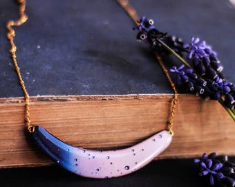 Necklace in pink and blue , Raindrops Necklace , Statement necklace , Crescent necklace , Pink Necklace , Blue Necklace , Crescent jewelry